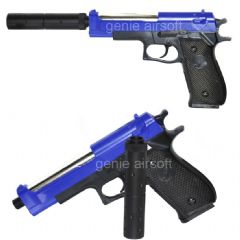Beretta M9 Blue Airsoft BB gun with Silencer